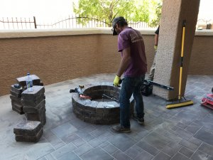 Patio Paver Installers Custom Gas Firepit