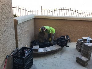 Patio Pavers Installed with Custom Water Feature